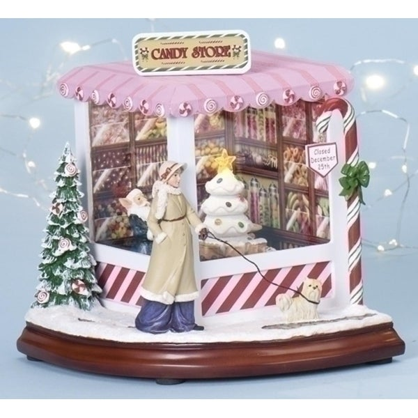 """8"""" Amusements Lighted, Musical and Rotating Christmas Candy Shop Decoration"""