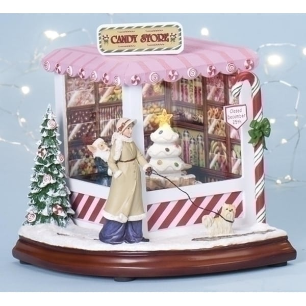 """Set of 2 Amusements Lighted, Musical and Rotating Christmas Candy Shop Decoration 8"""" - multi"""