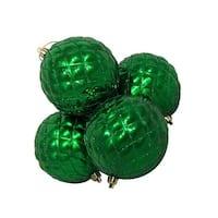 4 ct. Shiny Xmas Green Diamond Design Shatterproof Christmas Ball