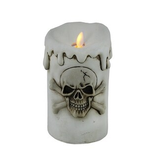 Melting White Flameless Skull and Crossbones Candle