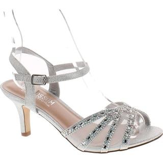 De Blossom Collection Womens Vero-59 Metallic Ankle Strap Dress Sandal Shoes