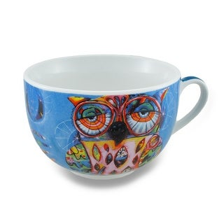 Ceramic Colorful Owl Blue Coffee Mug/Tea Cup and Saucer Gift Box Set