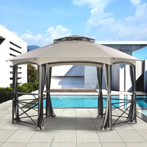 Sunjoy Original Manufacturer Replacement Canopy for Crossman Gazebo (11'X15') Model L-GZ076PST-1A-4