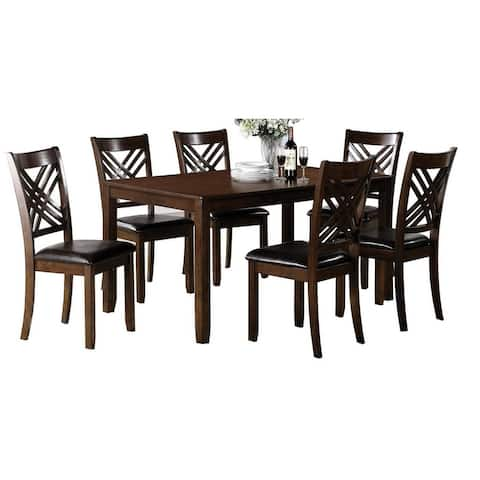 7 Piece Wooden Dining Set with 1 Table and 6 Leatherette Chairs, Brown