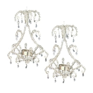 Set of 2 Clear Beaded Hanging Chandelier Tealight Candle Holder 7.5""