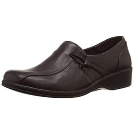 Easy Street Womens Lara Leather Casual Loafers - 6 wide (c,d,w)
