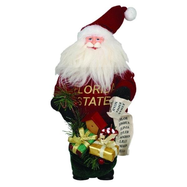 "10"" NCAA Florida State Seminoles Gift Bearing Santa Christmas Table Top Figure - RED"