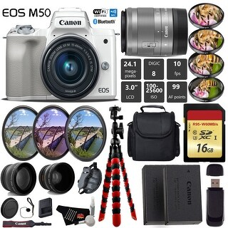Canon EOS M50 Mirrorless Digital Camera (White) with 15-45mm Lens + UV FLD CPL Filter Kit + Camera Case + Tripod - Intl Model