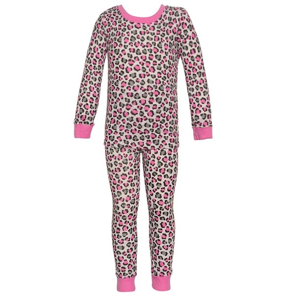 Mon Petit Baby Girls Gray Cheetah Printed Long Sleeve 2 Pc Pajama Set 18M