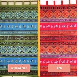 Handmade 100% Cotton Kalamkari Floral Tie Dye Tab Top Curtain Drape Panel 44x88 in Red & Blue Green