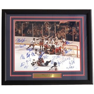 1980 Team USA Miracle On Ice Team Signed Framed 16x20 w/ 20 Signatures JSA+SI