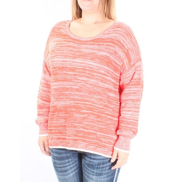 bb0816c4387fe7 Shop VINCE CAMUTO Womens Orange Long Sleeve Jewel Neck Top Size: L - Free  Shipping On Orders Over $45 - Overstock - 28373016
