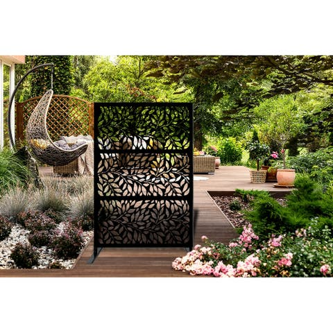 6x4-foot Free-standing Laser-cut Metal Privacy Screen Panel - 4'x6'
