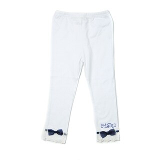 Richie House Girls' White Stretch Pants with Lace Hem and Rhinestones
