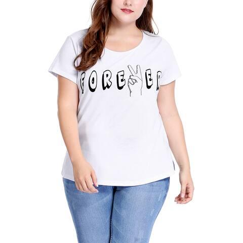 Unique Bargains Women's Plus Size Round Neck Short Sleeve Letter Print Tee - White