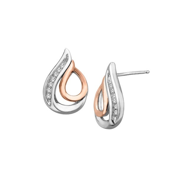 1/10 ct Diamond Earrings in Sterling Silver & 10K Rose Gold