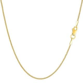 Mcs Jewelry Inc 14 KARAT YELLOW GOLD ROUND DIAMOND CUT WHEAT CHAIN NECKLACE (1.2MM)