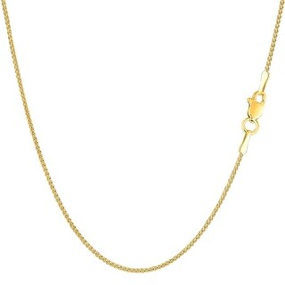 Mcs Jewelry Inc 14 KARAT YELLOW GOLD ROUND DIAMOND CUT WHEAT CHAIN NECKLACE (1.2MM) (5 options available)