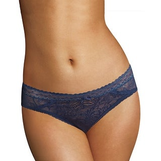 Maidenform® Micro Cheekini with Lace Navy/Silver (All Over Lace) size-8