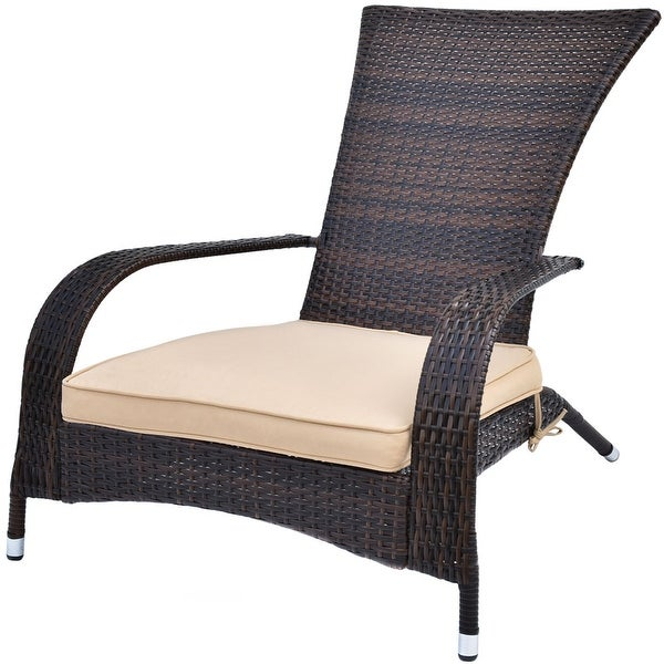 Costway Outdoor Wicker Adirondack Chair Patio Porch Deck Furniture W/ Seat  Cushion