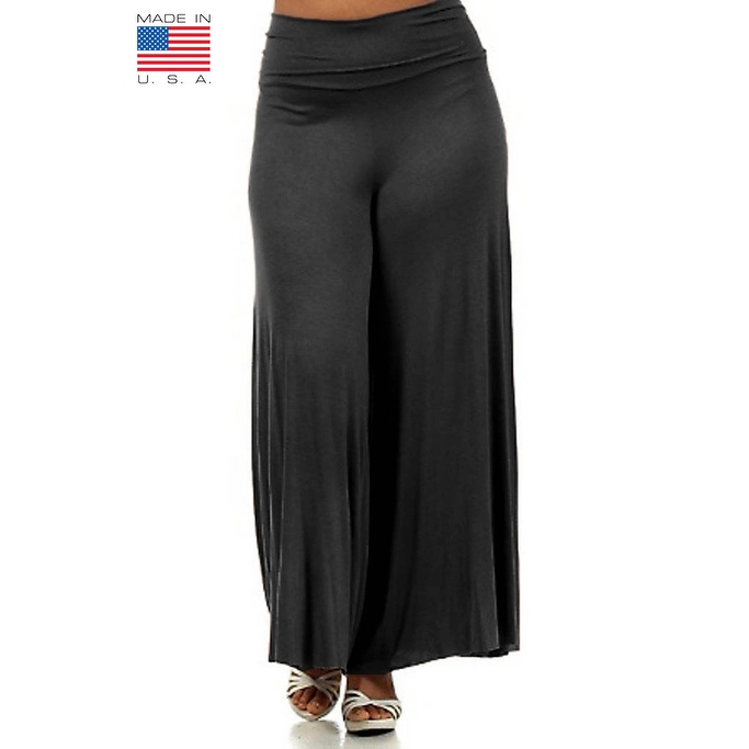 Plus Size Women's Charcoal Palazzo Pants Lose Fit Wide Leg Folding Waist Sexy Comfy