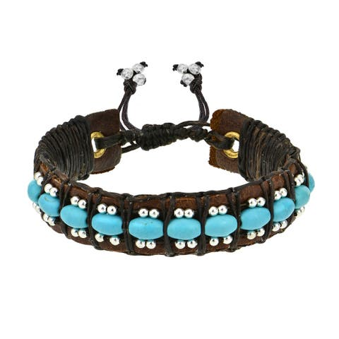 Handmade Vintage Turquoise Rolls Leather Pull Slide Bracelet Bohemian (Thailand)