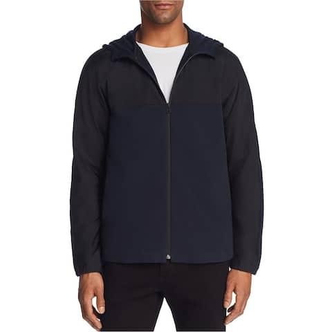Theory Mens Colorblocked Hoodie Sweatshirt, Blue, Large