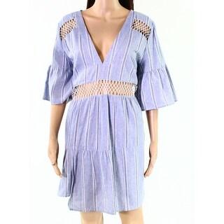 Suboo Blue White Womens Size 8 Denim Mesh-Insert Kaftan Dress