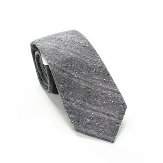 Cole Haan Charcoal Gray Mens One Size Textured Striped Silk Neck Tie