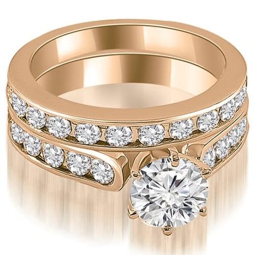 3.19 cttw. 14K Rose Gold Cathedral Round Cut Diamond Bridal Set