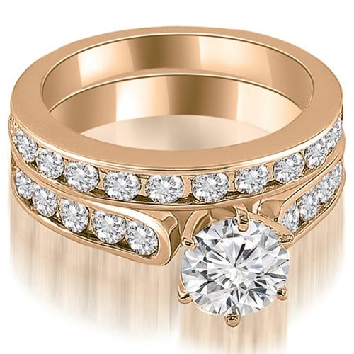 3.69 cttw. 14K Rose Gold Cathedral Round Cut Diamond Bridal Set