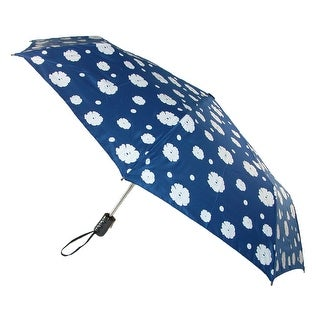 CTM® Women's Auto Open and Close Color Changing Floral Print Compact Umbrella - Blue - One Size