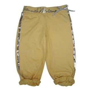 Disney Little Girls Yellow Hannah Montana Glitter Sequin Capri Pants 6X-12