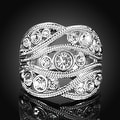 White Gold Plated Crystal Inline Geo Ring - Thumbnail 1