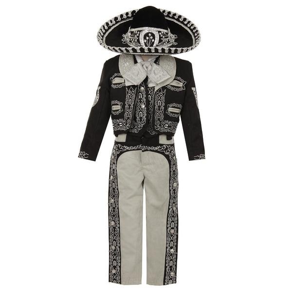 Rain Kids Boys Black Silver Horse Embroidery Elegant 6 Pc Charro Suit. Opens flyout.
