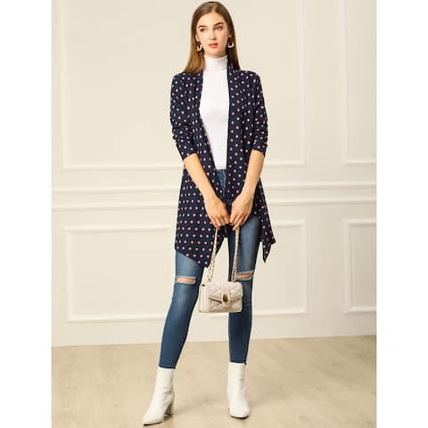 Unique Bargains Women Handkerchief Hem Open Front Plaids Cardigan