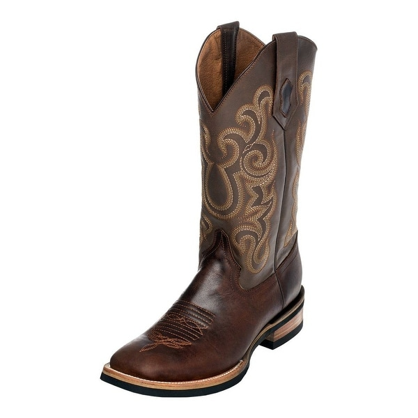Ferrini Western Boot Men Maverick Rubber Sole Square Toe Choc