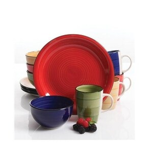 Gibson 105948.12 Color Vibes Round 12Pc Stoneware Dinnerware Set For 4
