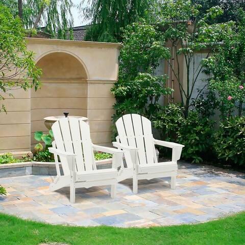 Plastic Adirondack Chair White Patio Garden Desk Folding Set of 2/4