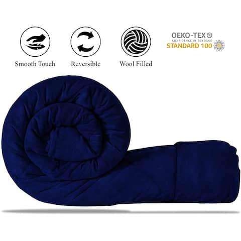 All Season 100% NewZealand Wool Fill Reversible Throw Blanket Navy