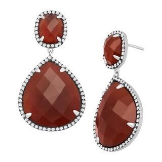 Carnelian & Cubic Zirconia Drop Earrings in Sterling Silver - Red