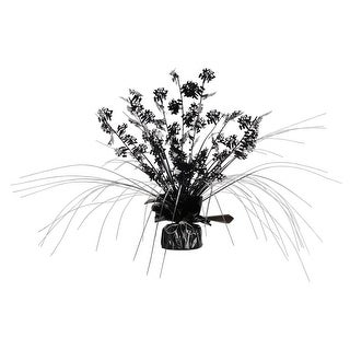 Club Pack of 12 ''Over-the-Hill'' Black and Silver Cascading Foil Gleam 'N Spray Centerpieces 11''