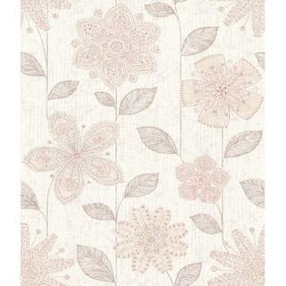 Brewster 1014-001815 Maisie Pink Batik Flower Wallpaper