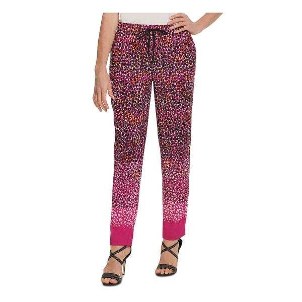 DKNY Womens Pink Animal Print Straight leg Pants Size XL. Opens flyout.
