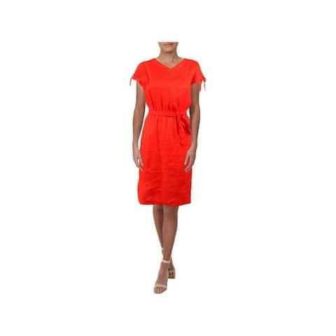 ANNE KLEIN Red Short Sleeve Knee Length Shift Dress Size 2