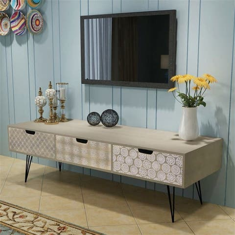 Modern Living TV Stand with 3 Drawers,Gray storage Cabinet