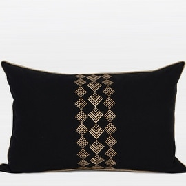 """G Home Collection Luxury Black And Gold Geometry Pattern Embroidered Pillow 14""""X22"""""""