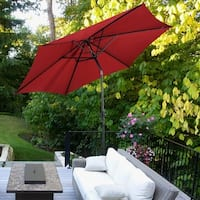 Costway 9FT Patio Umbrella Patio Market Steel Tilt W/ Crank Outdoor Yard Garden Burgundy - Red