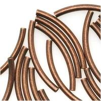 Antiqued Copper Plated Curved Tube Noodle Beads 15mm (50 Beads)