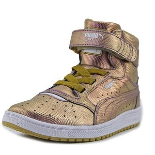 Puma Sky II Hi Holo PS Youth Round Toe Leather Gold Sneakers